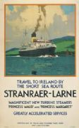Irish Travel Poster, Shipping, Larne Ireland boat ferry